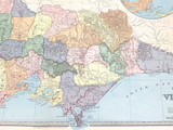c1886 VERY LARGE DETAILED COLOUR MAP of VICTORIA.