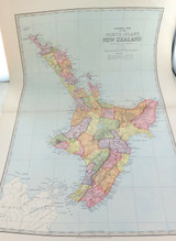 c1886 VERY LARGE DETAILED COLOUR MAP of NEW ZEALAND NORTH ISLAND.