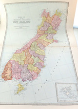 1888 VERY LARGE DETAILED COLOUR MAP of NEW ZEALAND (MIDDLE) SOUTH ISLAND.