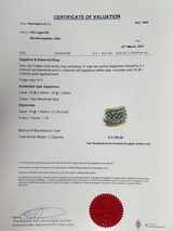 Australian Sapphire & Diamond Set 14k Yellow Gold Ring Size H1/2 Val $2780