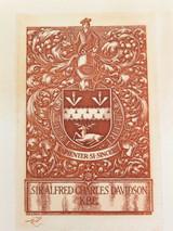 1939 (EX LIBRIS / HIS BOOK) ETCHING by JOHN GODSON for SIR ALFRED C DAVIDSON KBE