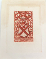 EARLY 1900s (EX LIBRIS HIS BOOK) ETCHING by C W SHERBORN for PERCY N BARNETT.