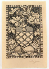 c1909 (EX LIBRIS / HIS BOOK) ETCHING by C W SHERBORN for ROBERT CUTTING