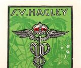 c1940 AUSTRALIAN ARTIST G D PERROTTET MULTI LINO CUT for S V HAGLEY (EX LIBRIS)