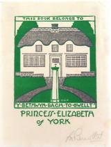 c1931 THIS BOOK BELONGS PRINCESS ELIZABETH of YORK QEII LINO CUT by G PERROTTET.