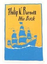 c1950 HIS BOOK (EX LIBRIS) LINO CUT by JOHN ALLCOT for PHILIP N BARNETT.
