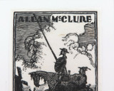 c1930 HIS BOOK (EX LIBRIS) WOOD CUT by WILL MAHONY for ALLAN McCLURE.