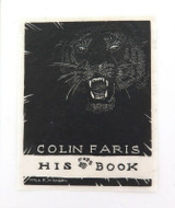 c1930 HIS BOOK (EX LIBRIS) WOOD CUT by WILL MAHONY for COLIN FARIS.