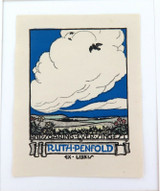 c1940 EX LIBRIS LINO CUT by PERROTTET for RUTH-PENFOLD, AND SOARING EVER SINGEST