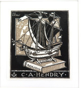 c1940 EX LIBRIS LINO CUT by G D PERROTTET for C A HENDRY. (HAKLUYT SOCIETY)