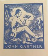 c1940s (EX LIBRIS / MY BOOK) COLOURED WOODCUT for JOHN GARTNER by ADRIAN FEINT.
