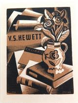c1930s EX LIBRIS WOODBLOCK PRINT for V S HEWETT by ALLAN JORDAN.