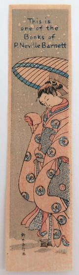 UNUSUAL c1930s / 1940s WOOD BLOCK PRINT for P NEVILLE BARNETT by HARUNOBU ?