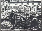 1930s WOODCUT BOOKPLATE of PONT VECCHIO by E A M ALSOP. EX MANUSCRIPTS MAGAZINE.
