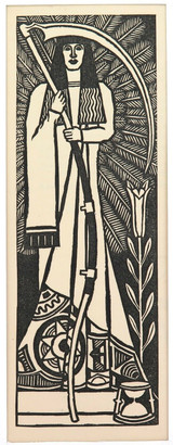 1930s LARGE LINOCUT BOOKPLATE by RON MEADOWS, UNTITLED. EX MANUSCRIPTS MAGAZINE.