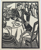 """1930s LINOCUT BOOKPLATE by AILSA LEE BROWN """"WAITING"""". EX MANUSCRIPTS MAGAZINE."""