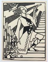 "1930s LINOCUT BOOKPLATE by KLYTE SLATER ""LIMPANG TUNG"". EX MANUSCRIPTS MAGAZINE."