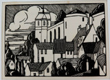1930s WOOD ENGRAVING BOOKPLATE by E W SYME. EX MANUSCRIPTS MAGAZINE.