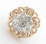 Vintage 0.56ct Diamond Ladies 14k Gold Floral Cluster Dress Ring SizeM Val $3890