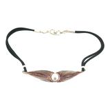 Beautiful Sterling Silver & Pearl Leaf Design Adjustable Necklace 26.2g