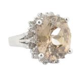 14ct White Gold 14.6x12.5mm Zircon 0.72ct Diamond Halo Ring O1/2 Val $9940