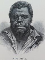 "c1886 ANTIQUE ENGRAVING BOOKPLATE, AUSTRALIAN ABORIGINAL ""KING BILLY"""