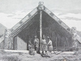 """c1886 ANTIQUE ENGRAVING BOOKPLATE, """"MAORI CARVED HOUSE KING COUNTRY"""" by J ASHTON"""
