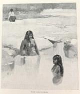 """c1886 ANTIQUE ENGRAVING BOOKPLATE """"MAORI GIRLS BATHING""""."""