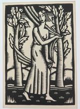 "1930s LARGE LINOCUT BOOKPLATE by REX WOODS ""EVERYMAN"". EX MANUSCRIPTS MAG."