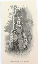 """c1886 ANTIQUE ENGRAVING BOOKPLATE, NEW ZEALAND """"GATEWAY of an OLD PAH""""."""