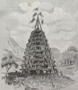 """c1886 ANTIQUE ENGRAVING BOOKPLATE, """"STAGE FOR A MAORI FESTIVAL"""""""