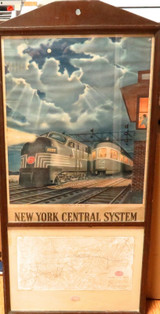 RARE NEW YORK CENTRAL RAILROAD SYSTEM ORIGINAL STATION DISPLAY. POSTER & MAP.