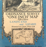 1934 LARGE ORDNANCE SURVEY MAP of LAND'S END and LIZARD, UK