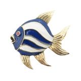 Vintage Kurt Gutmann 18k Gold Blue Enamel Ruby Angel Fish Brooch