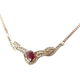 1.60ct Natural Ruby & 0.98ct Diamond Set 14k Gold 45cm Necklace Val $8250
