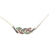Vintage Tutti Frutti Ruby Sapphire Emerald 14k Gold Necklace 45cm Val $2750