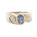 1.45ct Tanzanite & Diamond Set 14K Yellow Gold Dress Ring Size N Val $5260