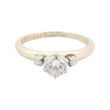 A Sweet 0.39ct Diamond 14K Yellow Gold Trilogy Ring Size I Val $3210