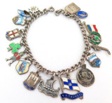 Vintage Sterling & .800 Silver Charms From Around The World Bracelet 27.2g