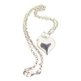 Stylish Sterling Silver Curvy Heart Pendant & Necklace Length 44 cm 11.4g