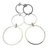 Vintage Pair of Sterling Silver Interlocking Circles Dangle Earrings 4.6g