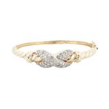 A Crossover 2.00ct G Vs Diamond Set 14K Gold Hinged Bangle Val $8735
