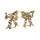 One Pair of 14K Gold 0.33ct Diamond Set Bow Stud Earrings Val $3060