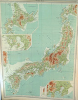 1922 SCARCE LARGE MAP of JAPAN. GREAT CONDITION.