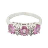 Vintage Diamond & pink Sapphire Set 14k White Gold Ring Size L Val $2950