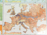 """1922 SCARCE LARGE MAP of """"EUROPE - PHYSICAL FEATURES & POPULATION"""". VERY NICE!"""