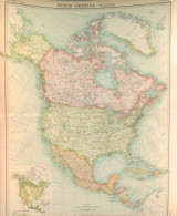 """1922 SUPERB SCARCE LARGE MAP of """"NORTH AMERICA - POLITICAL"""". VERY NICE!"""