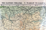 WW1 INTERESTING MAP / THE EASTERN THEATRE V. WARSAW to GALICIA.