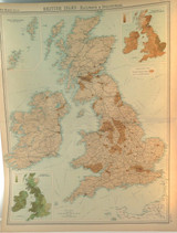 1922 SUPERB SCARCE LARGE MAP of BRITISH ISLES - RAILWAYS & INDUSTRIAL. VERY NICE