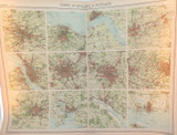 """1922 SUPERB SCARCE LARGE MAP of """"TOWNS of ENGLAND & SCOTLAND"""". VERY NICE!"""